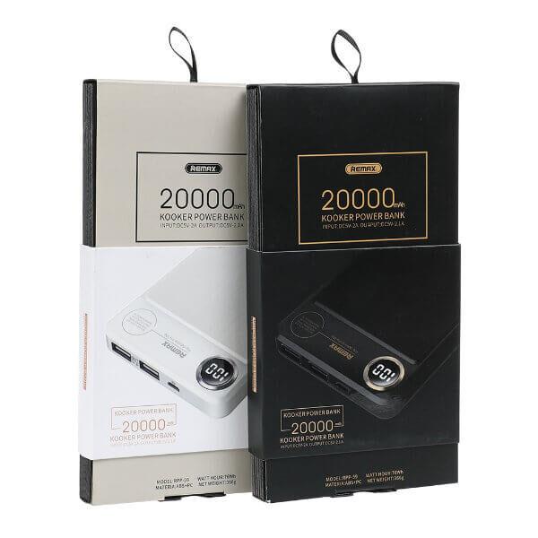 cargador externo remax blanco y negro